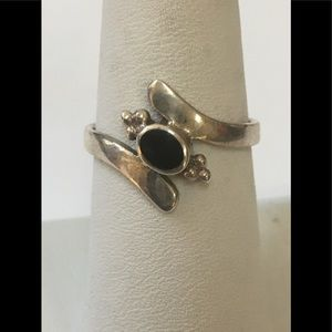 Sterling Silver and Oval Black Onyx Ring